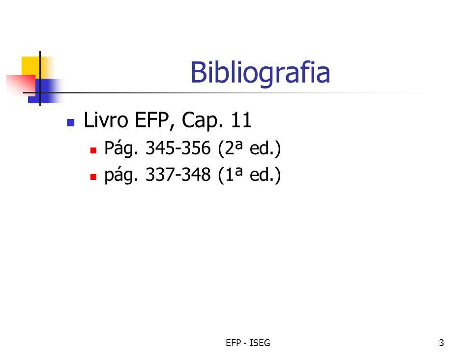Bibliografia Livro EFP, Cap. 11 Pág. 345-356 (2ª ed.)