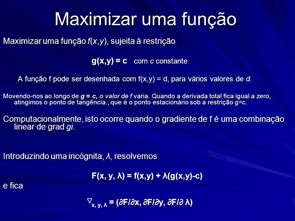 Maximizar uma função Maximizar uma função f(x,y), sujeita à restrição