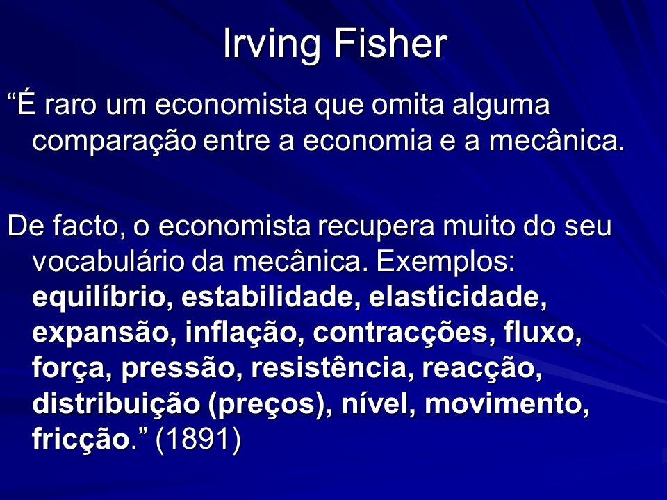 Irving Fisher É raro um economista que omita alguma comparação entre a economia e a mecânica.