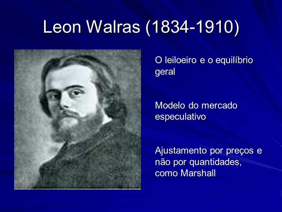 Leon Walras (1834-1910) O leiloeiro e o equilíbrio geral