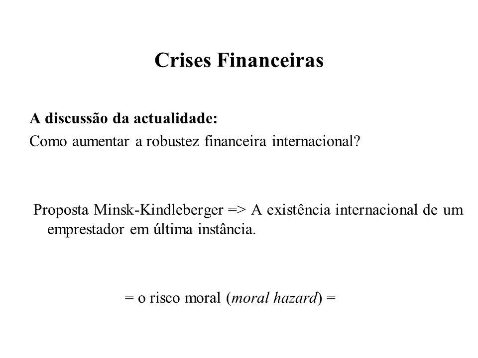 Crises Financeiras A discussão da actualidade: