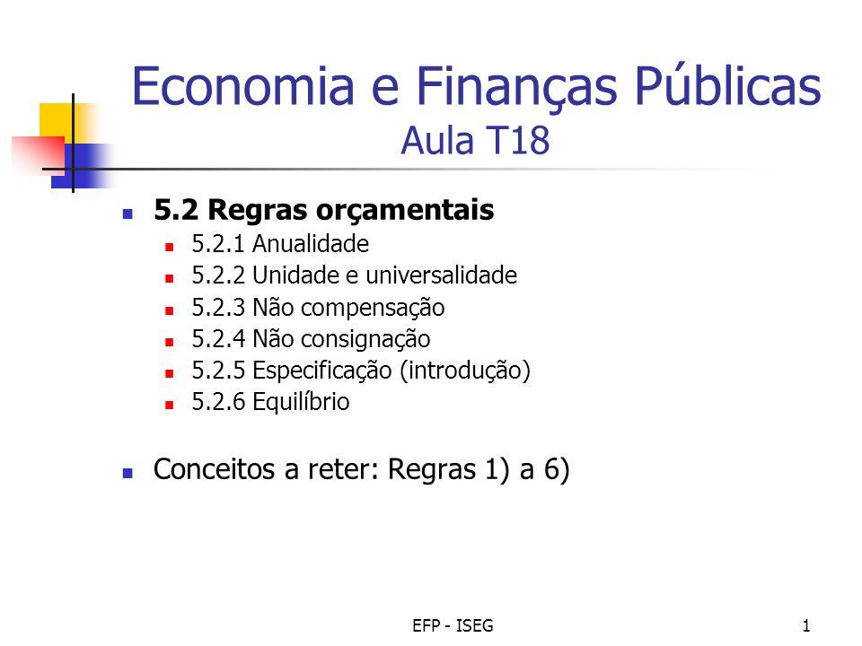 Economia e Finanças Públicas Aula T18