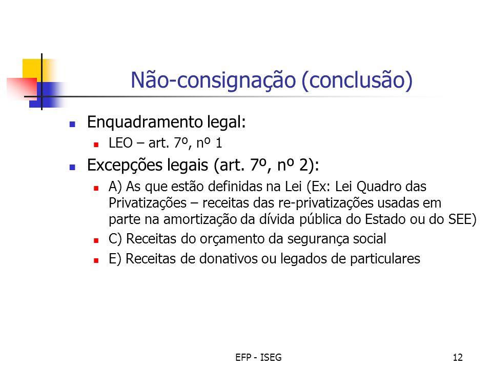 Não-consignação (conclusão)