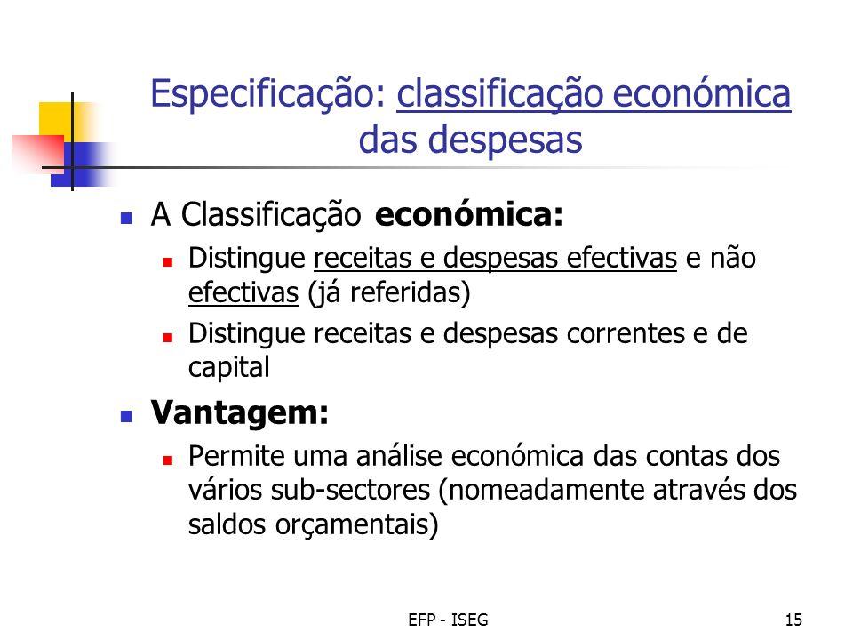 Especificação: classificação económica das despesas
