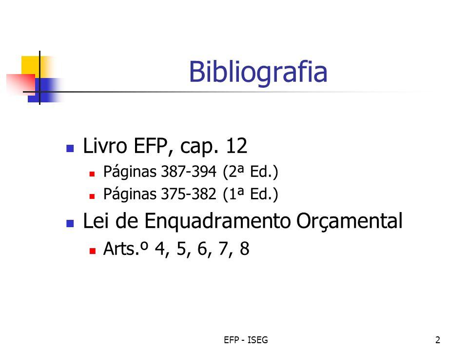 Bibliografia Livro EFP, cap. 12 Lei de Enquadramento Orçamental