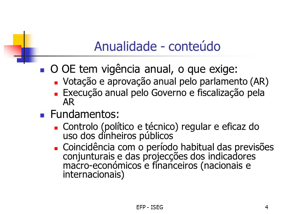 Anualidade - conteúdo O OE tem vigência anual, o que exige: