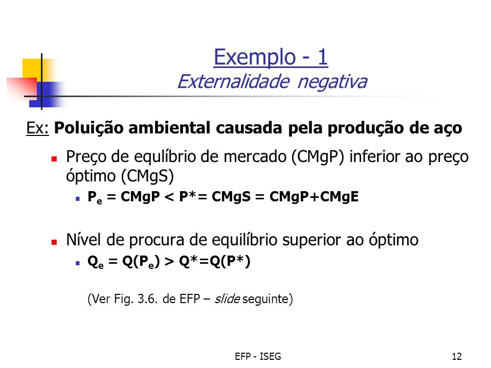 Exemplo - 1 Externalidade negativa
