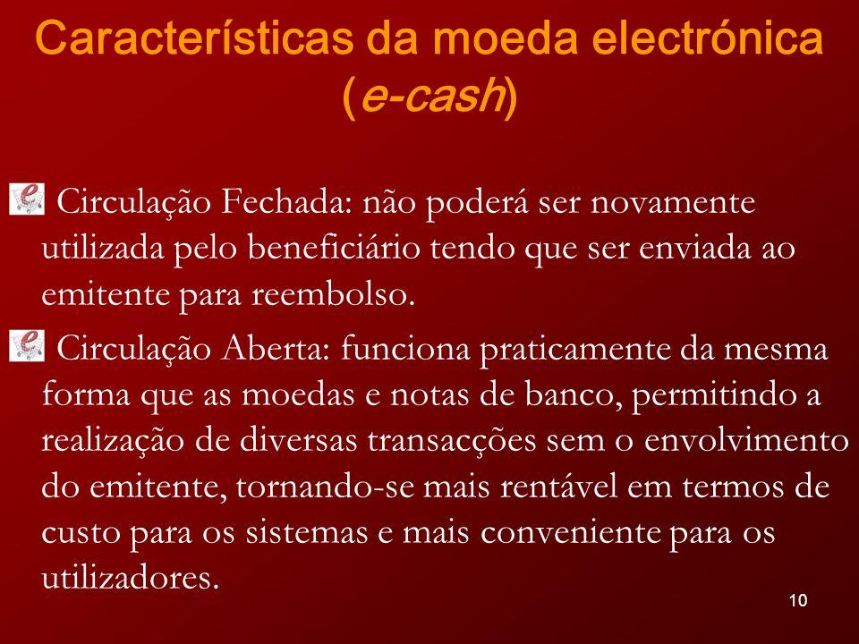 Características da moeda electrónica (e-cash)
