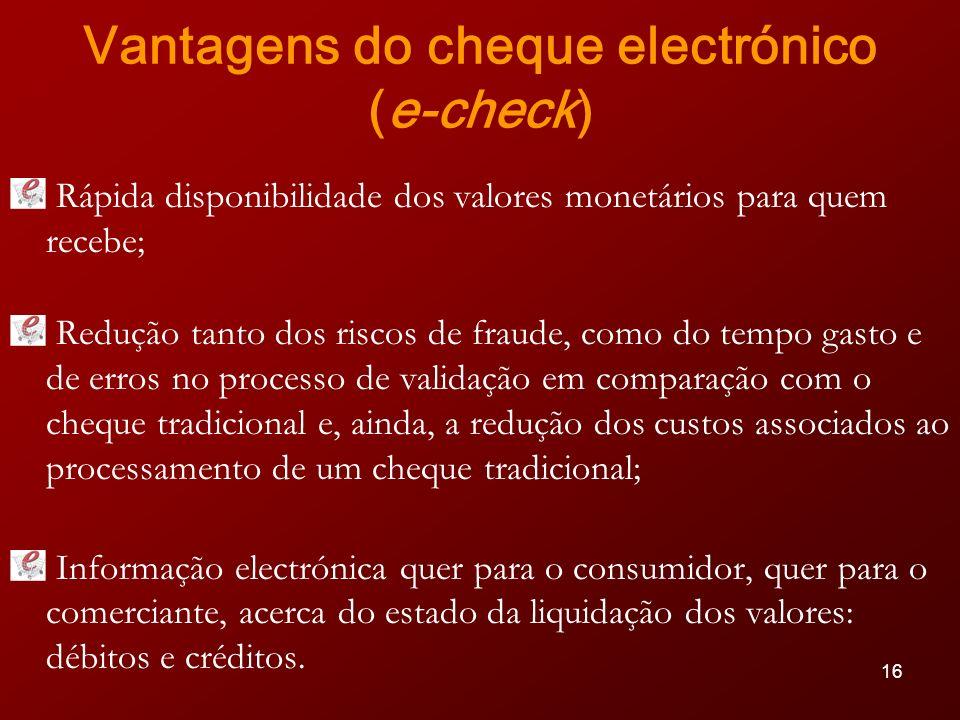 Vantagens do cheque electrónico (e-check)