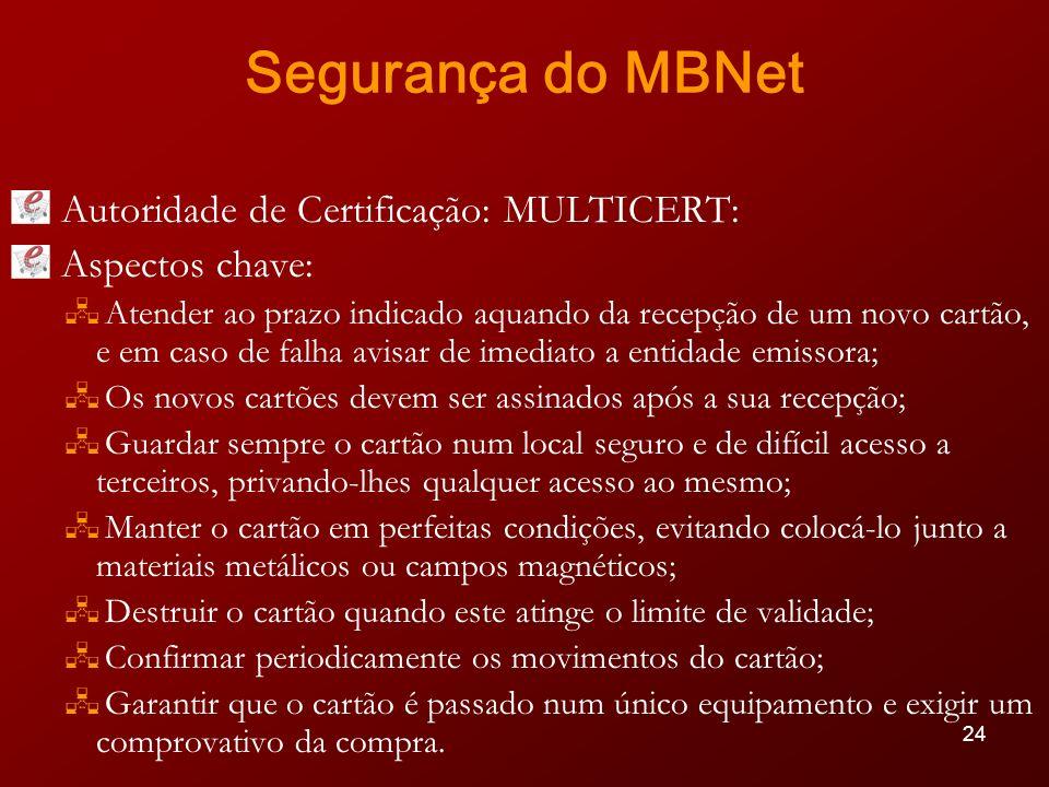 Segurança do MBNet Autoridade de Certificação: MULTICERT: