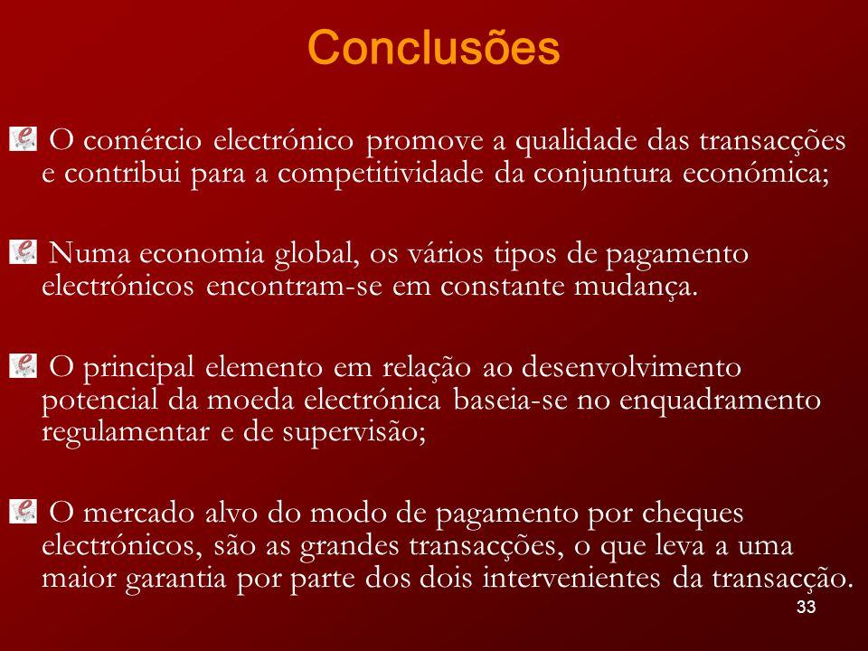 Conclusões O comércio electrónico promove a qualidade das transacções e contribui para a competitividade da conjuntura económica;