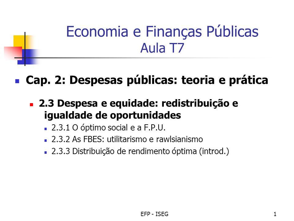 Economia e Finanças Públicas Aula T7