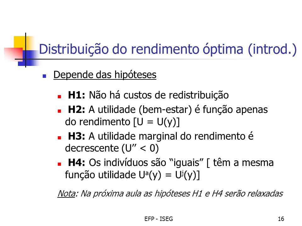 Distribuição do rendimento óptima (introd.)