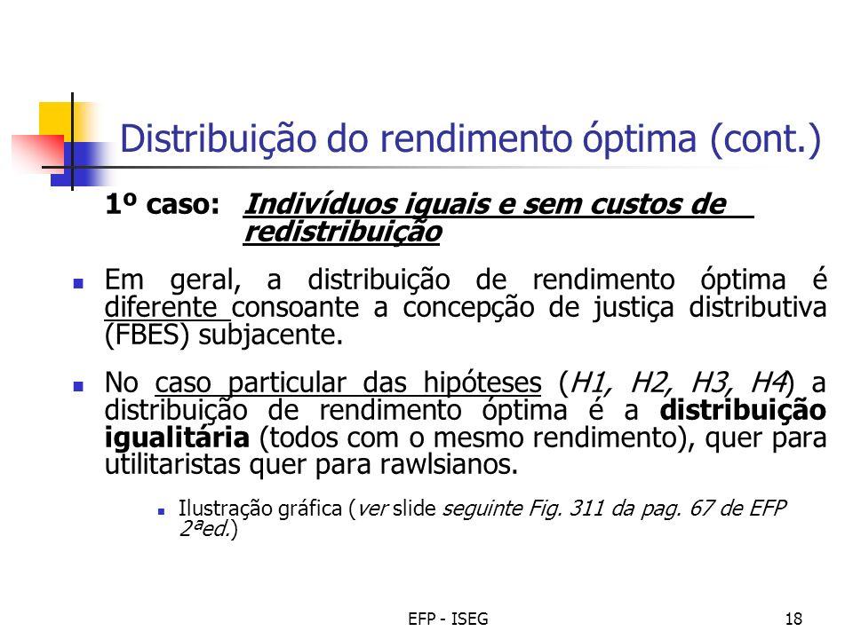 Distribuição do rendimento óptima (cont.)
