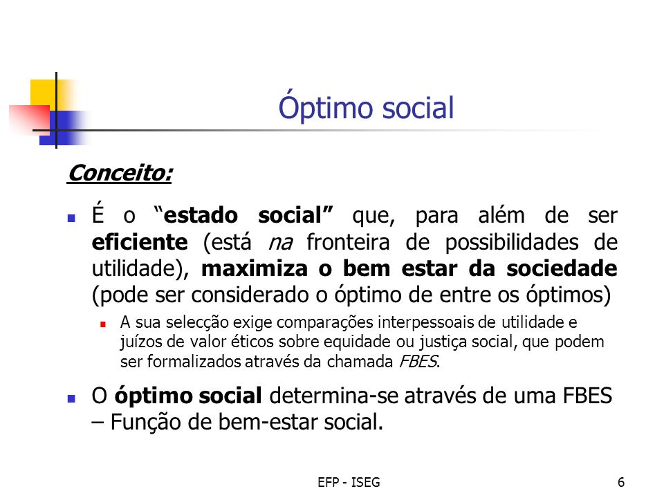 Óptimo social Conceito: