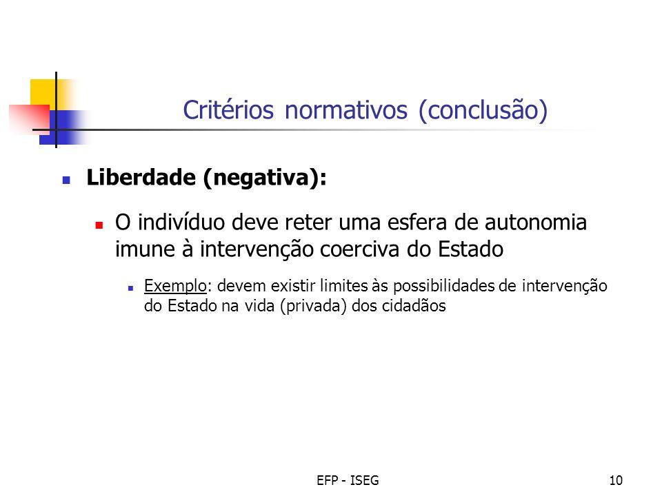 Critérios normativos (conclusão)