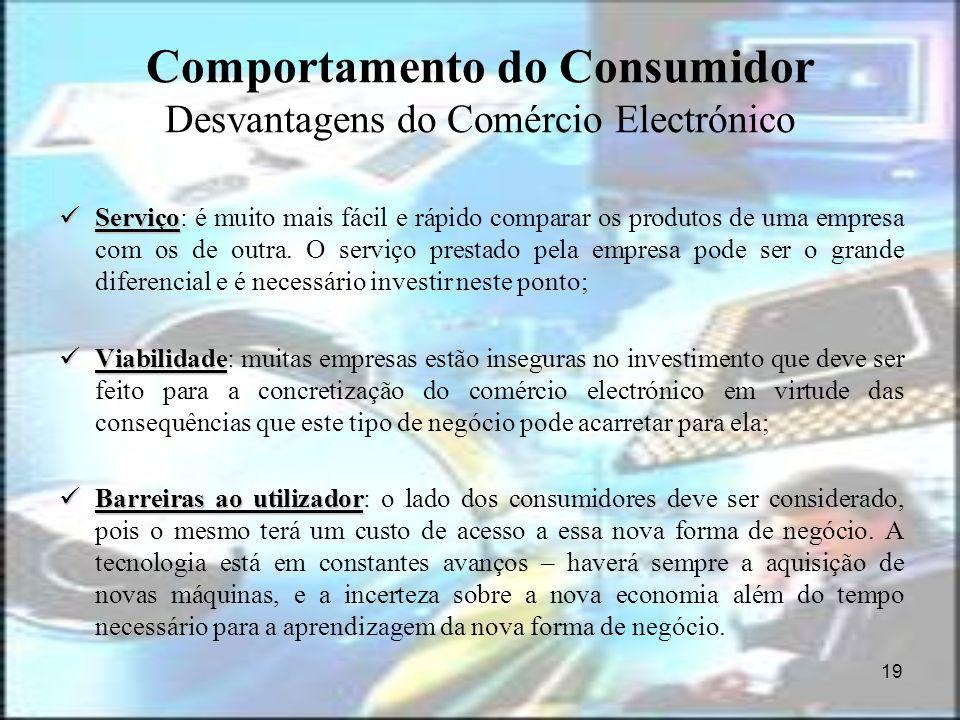 Comportamento do Consumidor Desvantagens do Comércio Electrónico