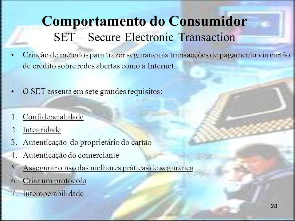 Comportamento do Consumidor SET – Secure Electronic Transaction