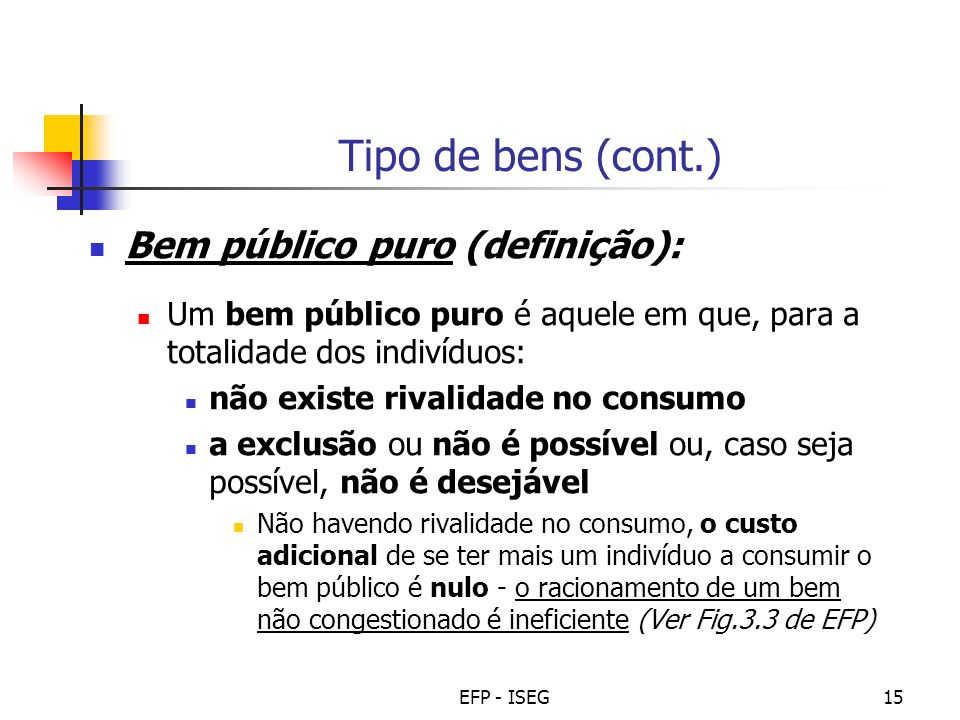 Tipo de bens (cont.) Bem público puro (definição):