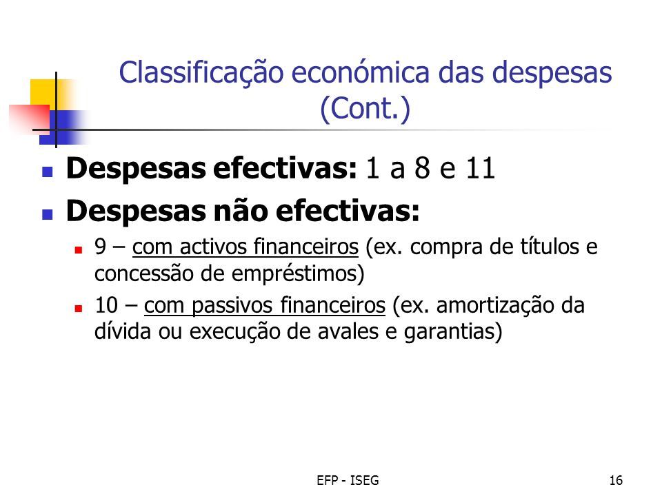 Classificação económica das despesas (Cont.)
