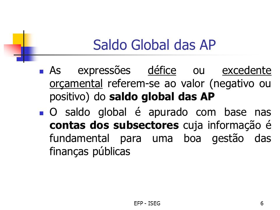 Saldo Global das APAs expressões défice ou excedente orçamental referem-se ao valor (negativo ou positivo) do saldo global das AP.