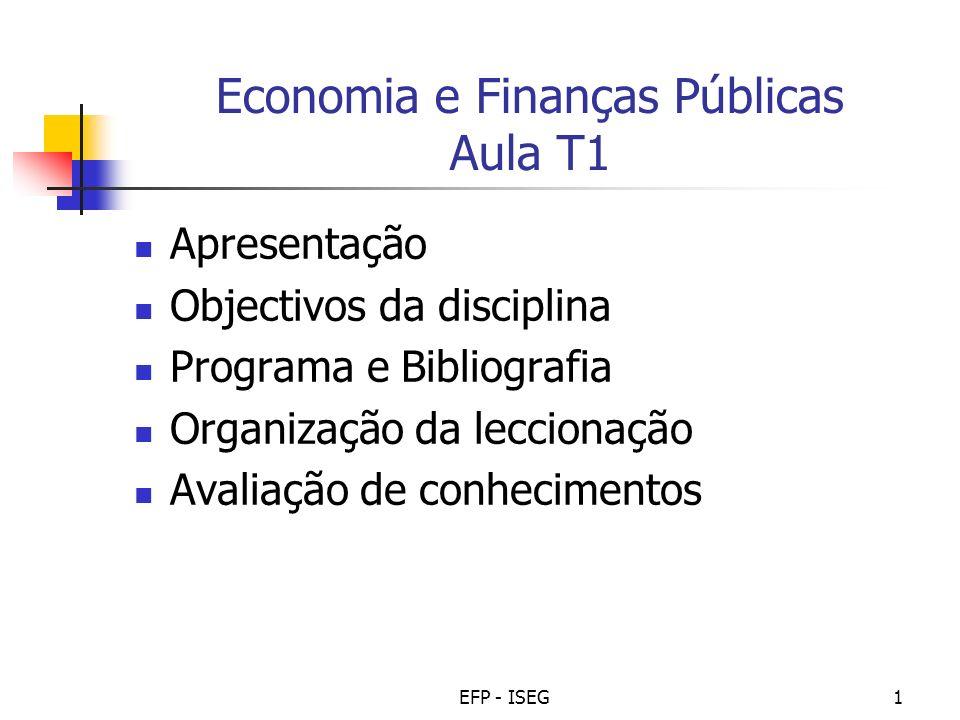 Economia e Finanças Públicas Aula T1