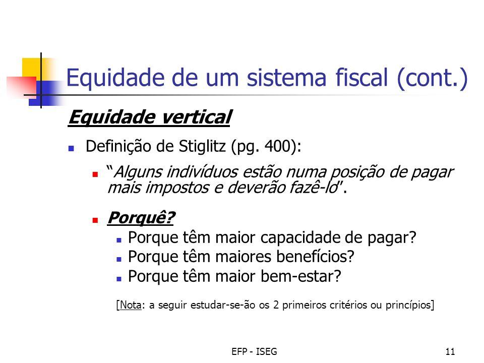 Equidade de um sistema fiscal (cont.)