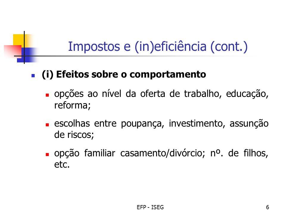 Impostos e (in)eficiência (cont.)