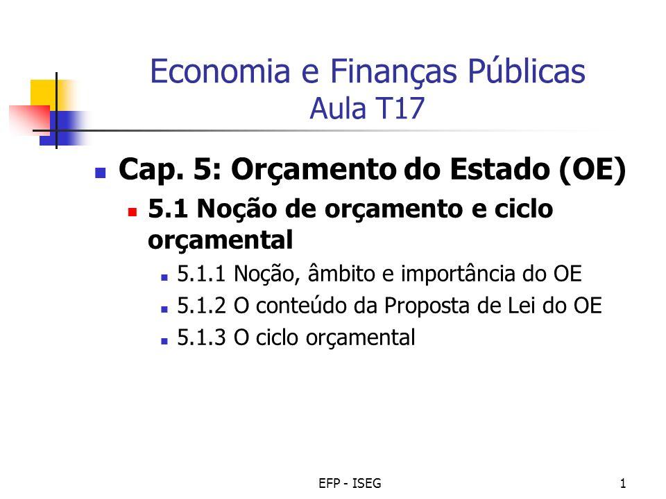 Economia e Finanças Públicas Aula T17