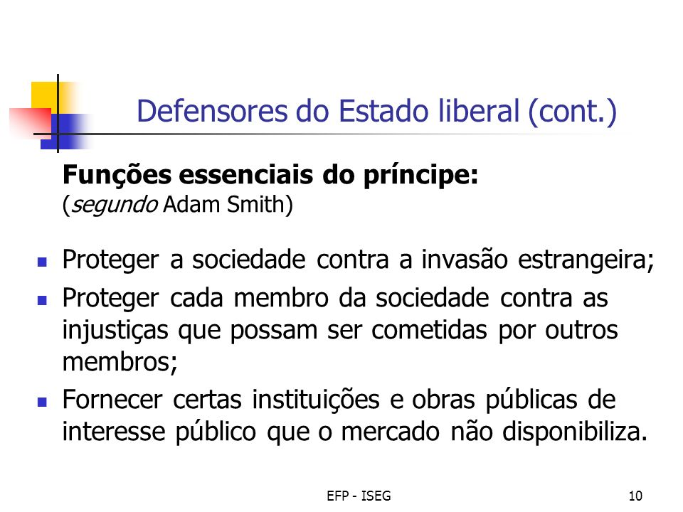 Defensores do Estado liberal (cont.)