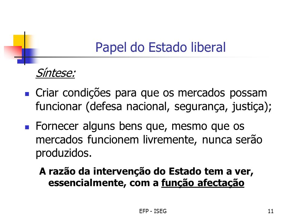Papel do Estado liberal