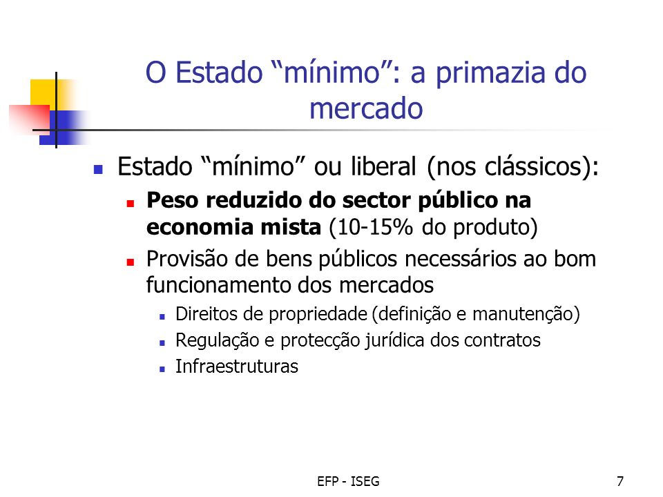 O Estado mínimo : a primazia do mercado