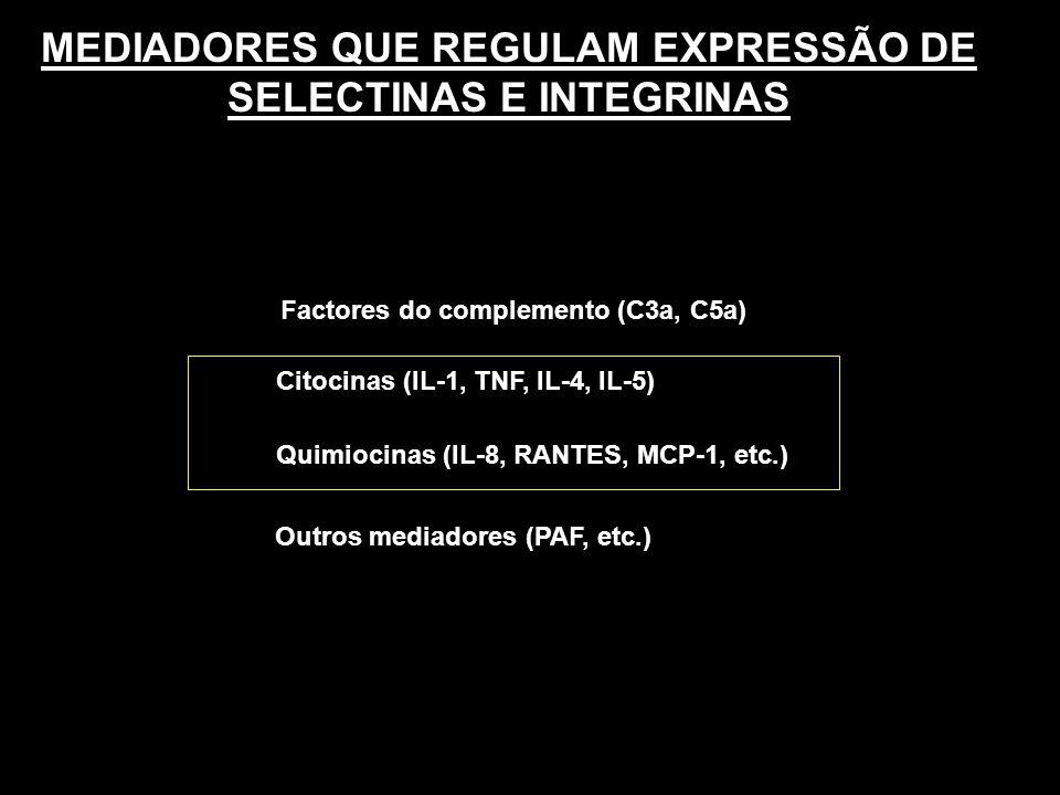 MEDIADORES QUE REGULAM EXPRESSÃO DE SELECTINAS E INTEGRINAS