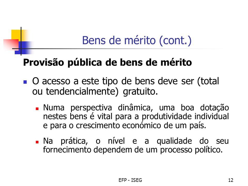 Bens de mérito (cont.) Provisão pública de bens de mérito