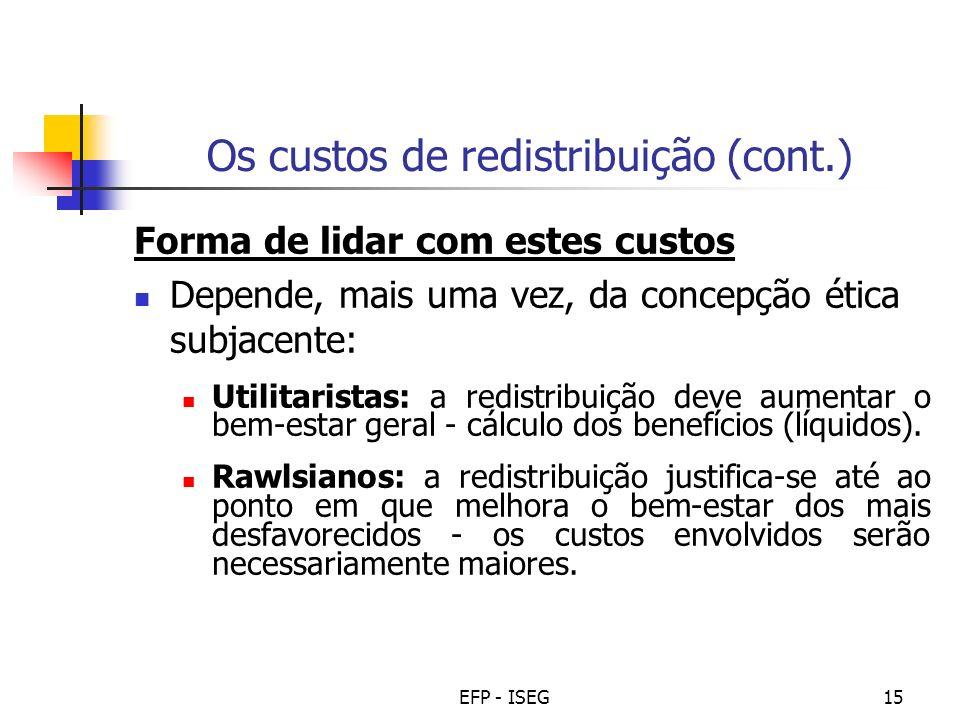 Os custos de redistribuição (cont.)