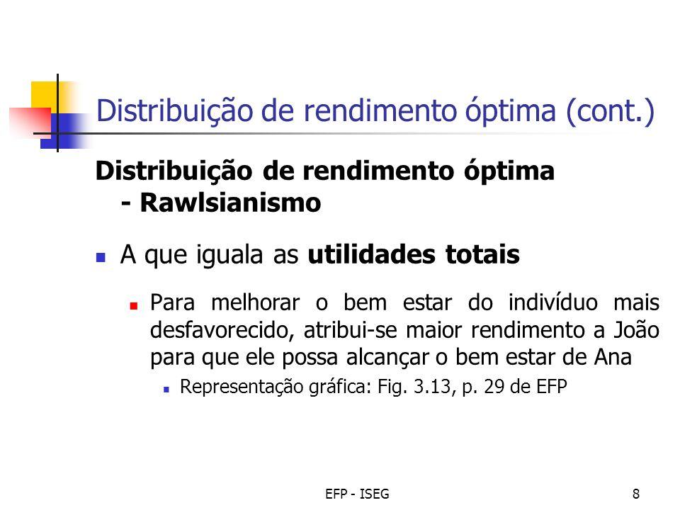 Distribuição de rendimento óptima (cont.)