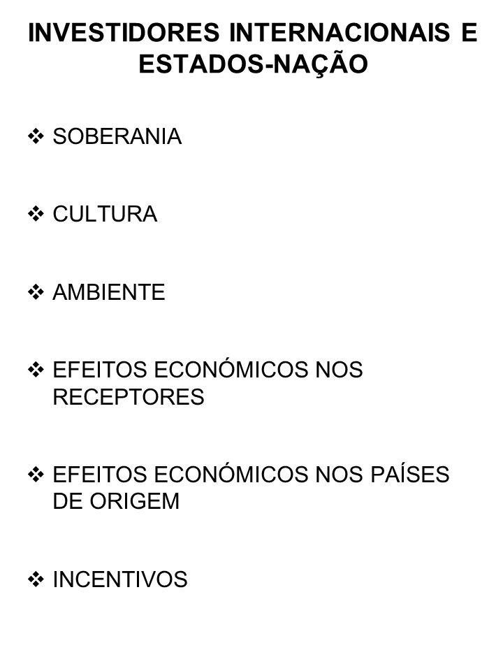 INVESTIDORES INTERNACIONAIS E ESTADOS-NAÇÃO