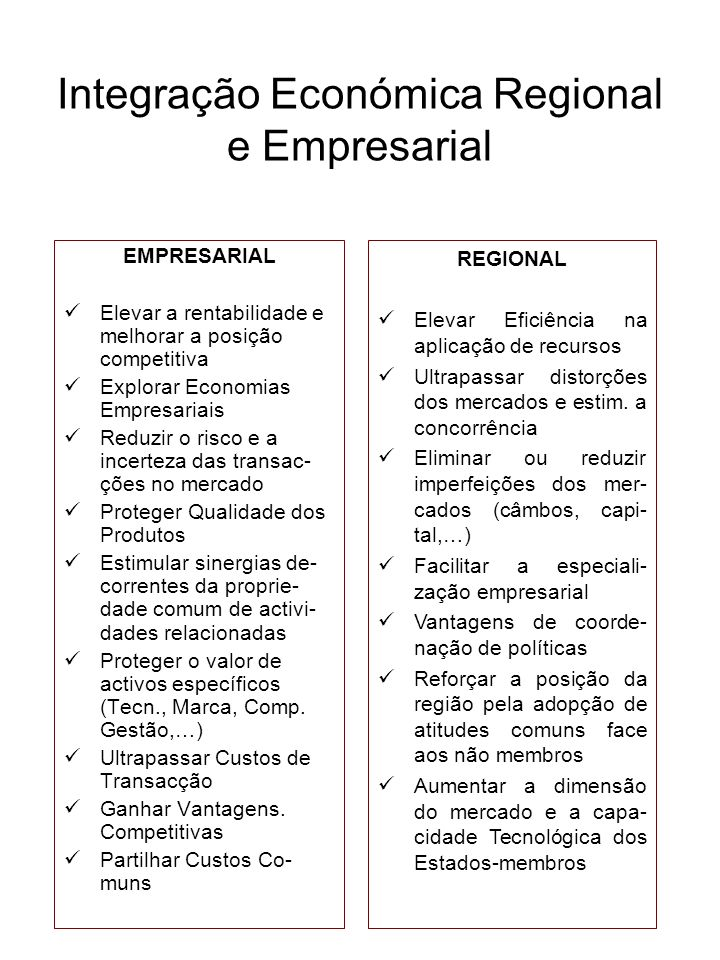 Integração Económica Regional e Empresarial