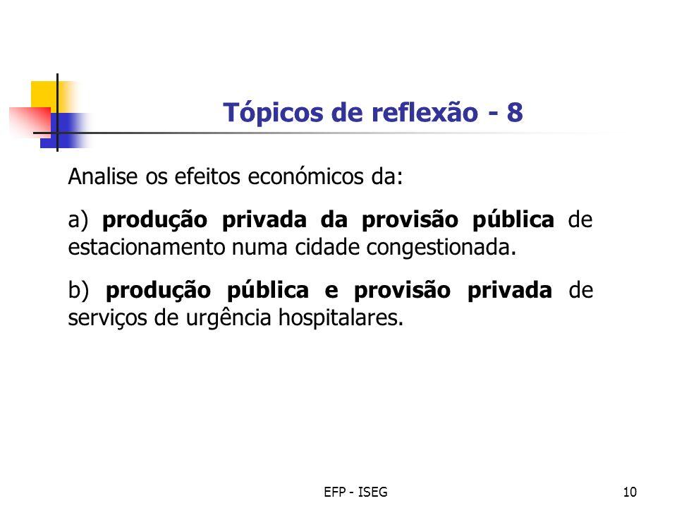 Tópicos de reflexão - 8 Analise os efeitos económicos da: