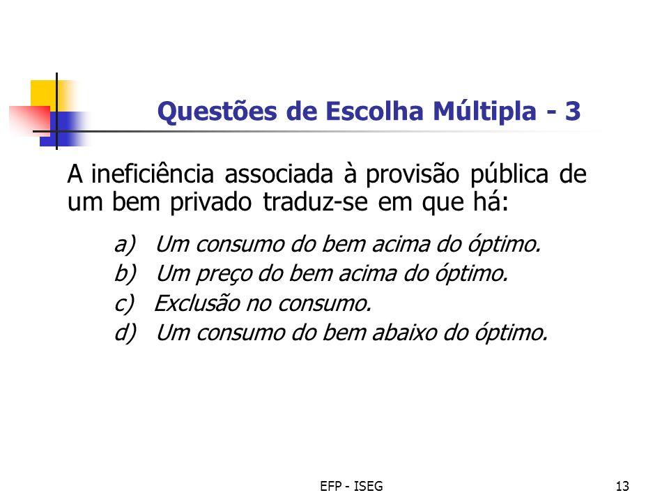 Questões de Escolha Múltipla - 3
