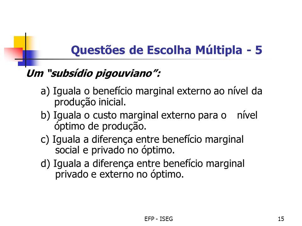 Questões de Escolha Múltipla - 5