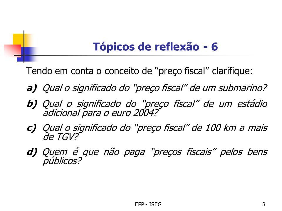 Tópicos de reflexão - 6 Tendo em conta o conceito de preço fiscal clarifique: a) Qual o significado do preço fiscal de um submarino