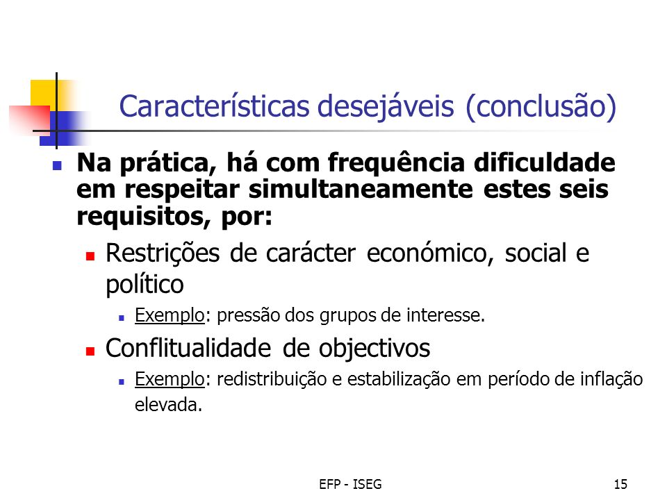 Características desejáveis (conclusão)