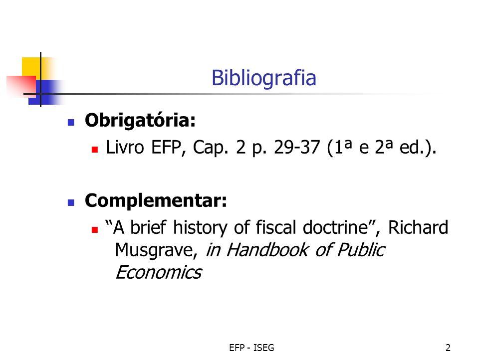 Bibliografia Obrigatória: Livro EFP, Cap. 2 p. 29-37 (1ª e 2ª ed.).