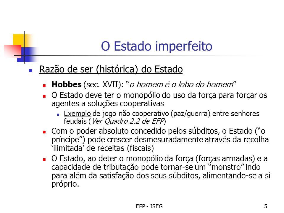 O Estado imperfeito Razão de ser (histórica) do Estado