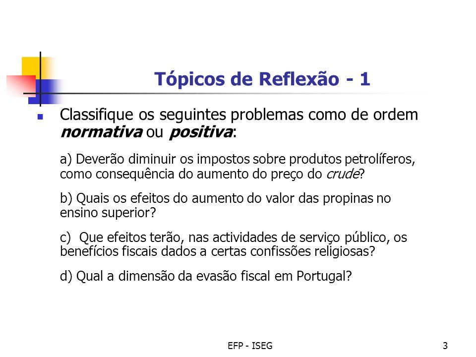 Tópicos de Reflexão - 1 Classifique os seguintes problemas como de ordem normativa ou positiva:
