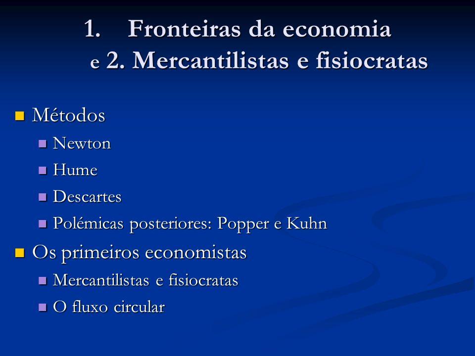 Fronteiras da economia e 2. Mercantilistas e fisiocratas
