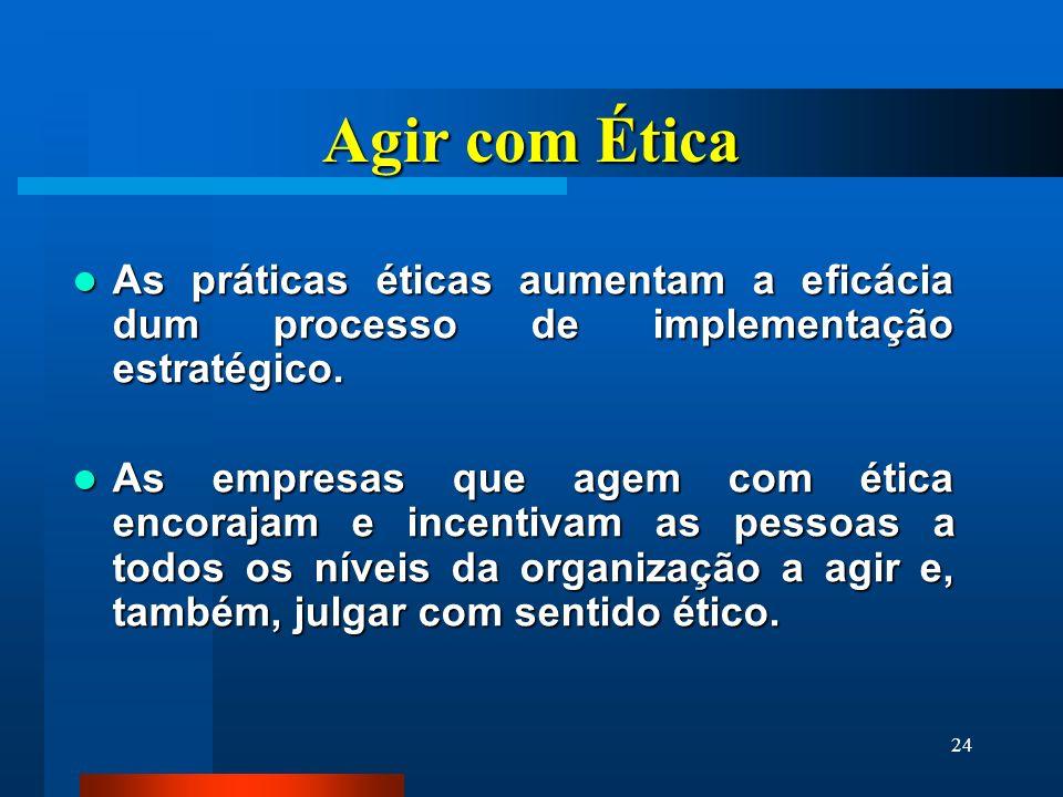 Agir com Ética As práticas éticas aumentam a eficácia dum processo de implementação estratégico.