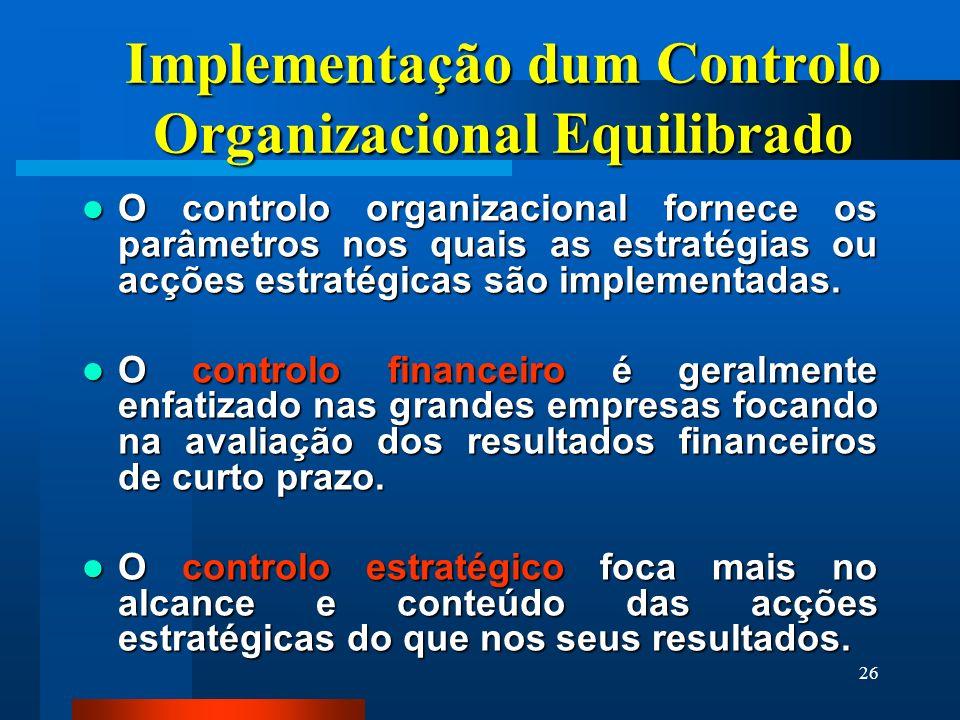 Implementação dum Controlo Organizacional Equilibrado