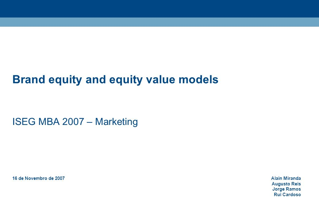 Brand equity and equity value models